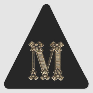 Golden Letter M Photo on Black Background Triangle Sticker
