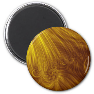 Golden Light Fractal 6 Cm Round Magnet