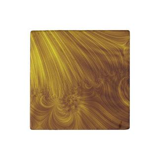Golden Light Fractal Stone Magnet