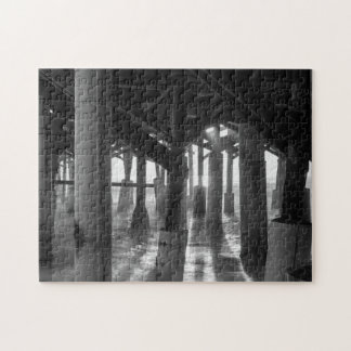 Golden Light Shines Through Grayscale Jigsaw Puzzle