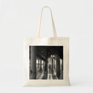 Golden Light Shines Through Grayscale Tote Bag