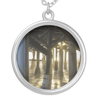 Golden Light Shines Through Silver Plated Necklace