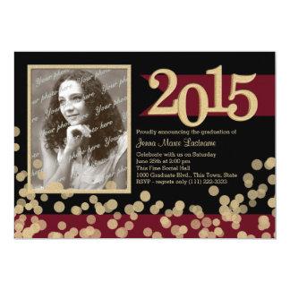 Golden Lights Burgundy and Black Grad Photo 5x7 Paper Invitation Card