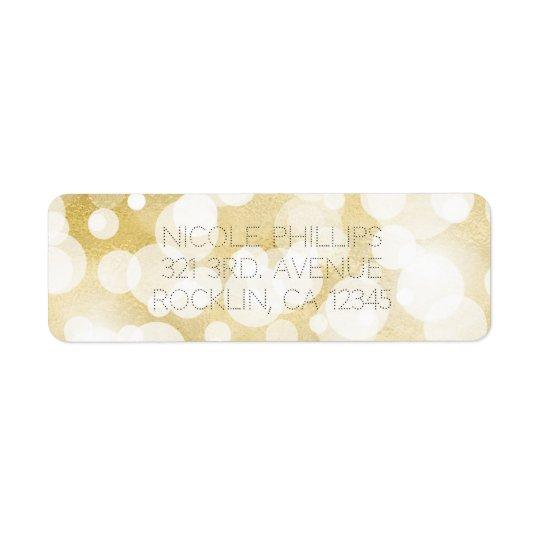 Golden Lights Gold Glam Modern Glam Invitation Return Address Label