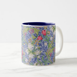 Golden Lily Vintage Floral Pattern William Morris Two-Tone Coffee Mug