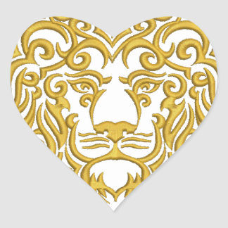 golden lion in the crown - imitation of embroidery heart sticker