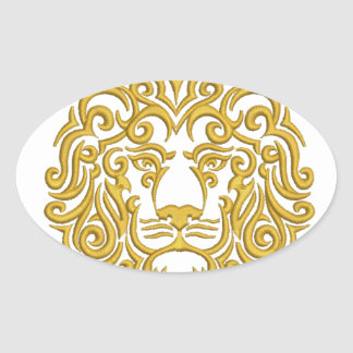 golden lion in the crown - imitation of embroidery oval sticker