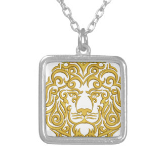 golden lion in the crown - imitation of embroidery silver plated necklace