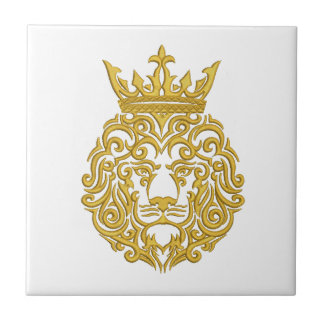 golden lion in the crown - imitation of embroidery tile