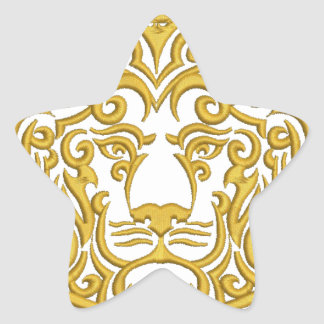 golden lion in the crown star sticker