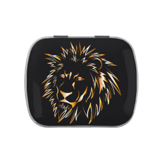 Golden lion jelly belly candy tins