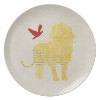 Golden Lion &  Ruby Dove Silhouette Plate