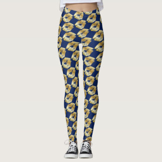 Golden Lip Prints on Royal Blue Leggings