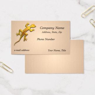 Golden lizard Linen Texture Business Card