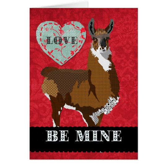 Golden Llama  Be Mine Greeting Card