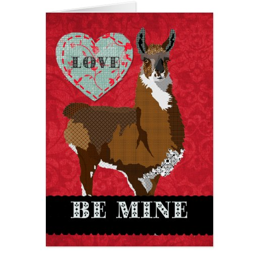 Golden Llama  Be Mine Greeting Greeting Card
