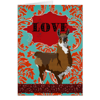 Golden Llama Love Red Damask Greeting Cards