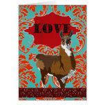 Golden Llama Love Red Damask Greeting Greeting Card