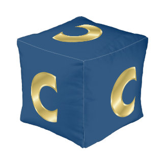 Golden look letter C Pouf