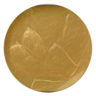 GOLDEN LOTUS Artistic Gold Foil Art Plate