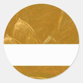 GOLDEN LOTUS BLANK TEMPLATE ARTISTIC LABEL DECO GI ROUND STICKER