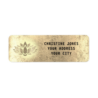 golden lotus flower return address label