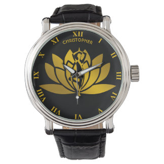 Golden Lotus Flower Yoga Meditation Cool Watch