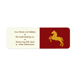 Golden Lotus Petal Pattern Horse On Dark Red Return Address Label