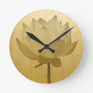 Golden Lotus Round Clock