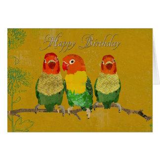 Golden Love Birds  Birthday  Card