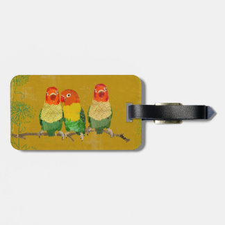 Golden Love Birds Luggage Tag