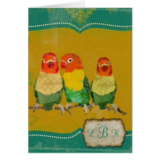 Golden Love Birds Monogram Notecard Cards