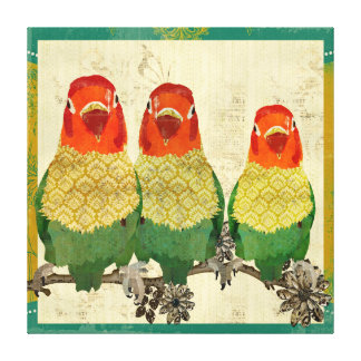 Golden Love Birds  Vintage  Canvas Canvas Print