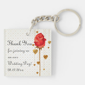 Golden Love Hearts and Rose Wedding Thank You Double-Sided Square Acrylic Key Ring