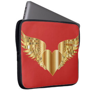 Golden love wings laptop sleeve