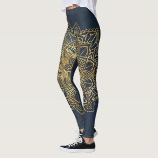 Golden Mandala Blue Background Leggings