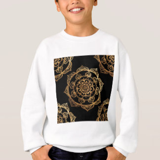 Golden Mandalas on Black Sweatshirt