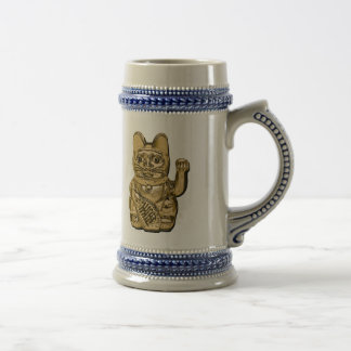 Golden Maneki Neko Beer Stein