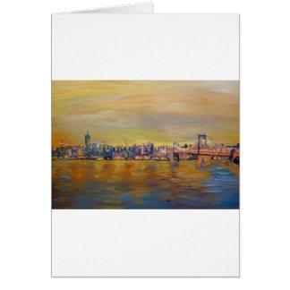 Golden Manhattan Skyline With One Trade Cent Card