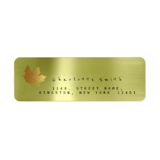 Golden Maple Leaf Linen Return Address Labels