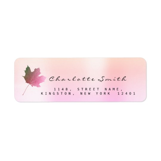 Golden Maple Leaf Pink Rose Ombre VIP RSVP Labels