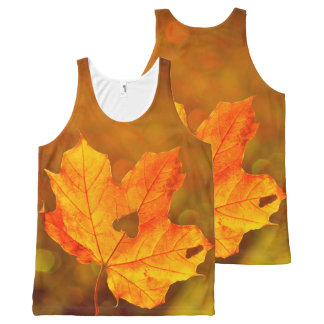 Golden Maple Leave On Fall Blurred Background All-Over Print Singlet