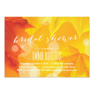 Golden Maple Leaves Autumn Bridal Shower 5x7 Paper Invitation Card