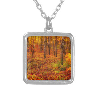 Golden Maple Trees in Fall Silver Plated Necklace