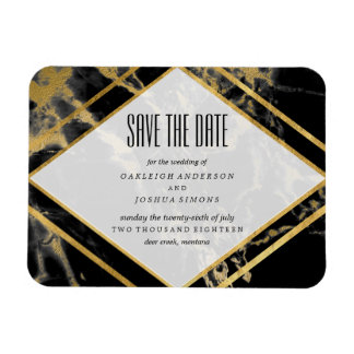 Golden Marble Save the Date Magnet