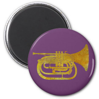 Golden Marching French Horn 6 Cm Round Magnet