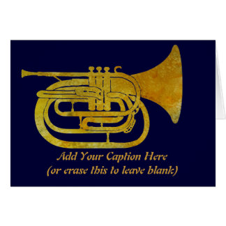 Golden Marching French Horn Card
