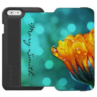 Golden Marigold on Teal Bokeh *Personalize* Incipio Watson™ iPhone 6 Wallet Case