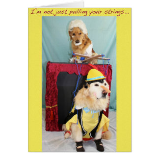 Golden Marionette Puppet Show Birthday Greeting Card