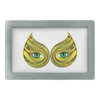 Golden Mask with Green Eyes Rectangular Belt Buckles